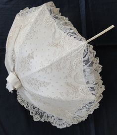 1860 parasol | Circa 1860, Rare Brussels Lace Parasol w/ Chinoiserie Pavillions ...