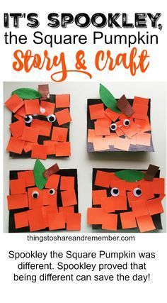Spookley, the Square Pumpkin Craft for Kids. Great fall activity or Halloween craft. Spookley, the Square Pumpkin Craft for Kids. Great fall activity or Halloween craft. Daycare Crafts, Classroom Crafts, Toddler Crafts, Crafts For Kids, Art For Kids, Kids Fun, Fall Art For Toddlers, Classroom Ideas, October Crafts