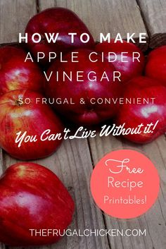 Apple Cider Vinegar has so many uses around the house, if you're not making it, you should. Here's how to make it for FREE, and how to use it. From FrugalChicken
