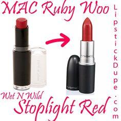 MAC Ruby Woo dupe Wet N Wild Mega Matte Lipstick in Stoplight Red