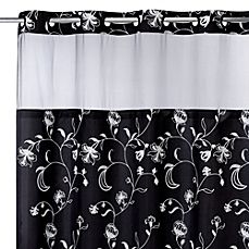 goes with leaf pattern bath rug. image of Hookless® 71-Inch x 74-Inch Fiona Shower Curtain and Liner in Black and White