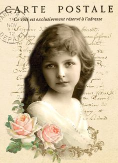 Vintage girl carte postale sepia Digital collage design p1022 Free for personal use <3
