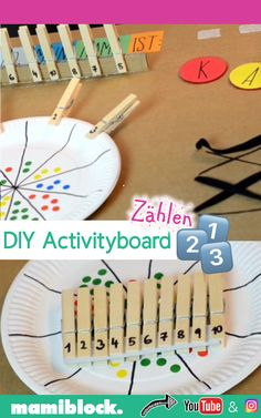 Activityboard zum Zählen selbstbasteln DIY activity board to learn to count yourself: With this acti Kindergarten Learning, Preschool Learning Activities, Toddler Learning, Toddler Activities, Preschool Activities, Baby Diy Projects, Thanksgiving Preschool, Drawing Activities, Activity Board