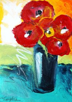 Red Poppies in Blue Vase, acrylic painting by Carol Engles -- Carol Engles