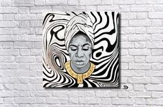 Nina Simone surreal portrait hone wall decor art painting. Stripes black and white. Check out this item in my Etsy shop https://www.etsy.com/il-en/listing/527246731/nina-simone-portrait-woman-music-singer