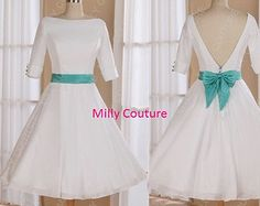 Simplicity Boat neck 1950s low back tea length wedding dress with 3/4 sleeves, rockabilly short wedding dress, 50s inspired wedding dress