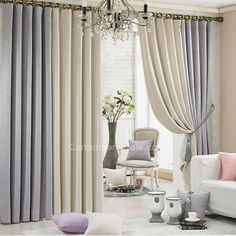 Grey and Beige Eco-friendly Thick Cheap Good Quality Curtains