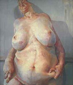 Jenny Saville, Branded, 1992 #lelijkheid  De Britse kunstenaar neemt een feministisch standpunt in en daagt de mannelijke kunstwereld uit door een lelijke naakte vrouw als onderwerp te tonen. Er wordt een dikke vervormde vrouw vertoond met een vetplooi. Door het kikkervorperspectief wordt de lelijkheid nog meer benadrukt.