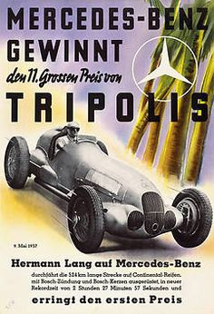 Hermann Lang wins in 1937 the 524 km race in Tripolis in a Mercedes-Benz (record time: 2 hours, 27 minutes and 57 seconds)