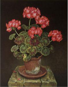 "robert-hadley: "" Jose Escofet - Pink and White Geraniums, gouache on paper, 1990 """