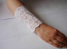 Lace White bracelet Lace Wrist Cuff White Strech by IskaCreations Wedding Bracelet, White Lace, Boho Fashion, Trending Outfits, My Style, Unique Jewelry, Bracelets, Handmade Gifts, Etsy
