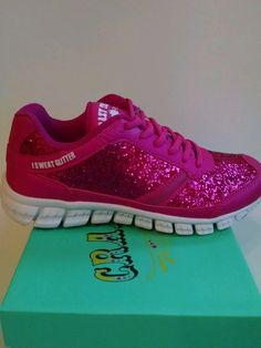 Crazy Train Women's So Glam I Sweat Glitter Shoes Pink Sz 8-Fits like a 7 #CrazyTrain #Athletic