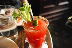 Caeser : Celery salt your rim and add ice. 1.5 of Vodka, worchestershire, tobasco sauce, salt & Pepper, and Clamato Juice. Topped off with a Spicy Bean or Celery Stick