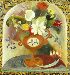 Duncan Grant (UK, - Flower Decoration - - oil on canvas - National Museum Wales, National Museum Cardiff Duncan Grant, Vanessa Bell, Bell Art, Bloomsbury Group, Decorative Panels, Art Uk, National Museum, Flower Vases, Flower Decorations