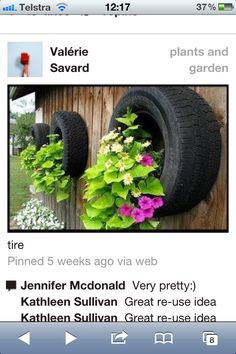 Tire planters. I would paint in bright colors just like the tire wall for plants.