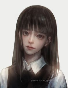 E korean school girl Arte Peculiar, Amarillis, 8bit Art, 3d Fantasy, Realistic Paintings, Cg Art, Beautiful Anime Girl, Digital Portrait, Deviant Art