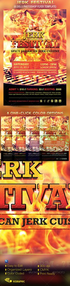 Jerk Festival Flyer Template - The Jerk Festival Flyer Template is great for any event, especially for spring and summer Food Festivals, Beach Parties and Grilling Competitions. - Price: $6.00