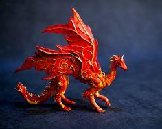 Flammarion the flame dragon, fire dragon, red and yellow dragon, magic dragon