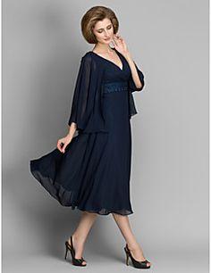 Vestido Para Mãe dos Noivos - Azul Marinho Escuro Linha-A Comprimento Médio Manga 3/4 Chiffon