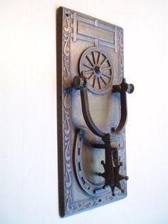Vintage Metal Western Spur Door Knocker w/ Horseshoe & Wagon Wheel Design | eBay