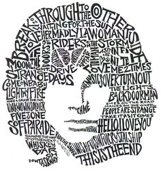 The likeness of legendary poet singer lyricist of the Doors Jim Morrison composed of his song lyrics quotations.