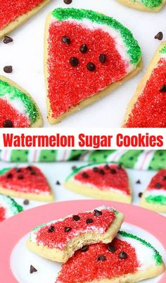 My soft Sour Cream Sugar Cookies are easy to decorate Watermelon Cookies! Perfect Cookies to bring on your next BBQ party or for easy Summer Treats. #watermelonsugarcookies #softsugarcookies #watermelonslicecookies #sourcreamsugarcookies #easysugarcookies #sugarcookies #summercookies #summerrecipes #summerdesserts Mini Desserts, Summer Desserts, Easy Desserts, Delicious Desserts, Summer Recipes, Delicious Cookies, Strawberry Desserts, Easy Baking Recipes, Best Cookie Recipes