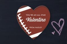 football valentine's, sports valentine, valentine's for boys, - valentine's for kids- sports valentine -  All Star! Football themed Classroom Valentine's Day Cards for Kids by Oma N. Ramkhelawan at minted.com