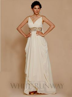 Scarlet Dress -- A beautiful grecian maxi dress with embellishments and draping at the hips. Makes a stunning grecian inspired wedding dress in Cream.