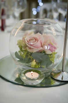 Wedding reception table centre piece, something similar to this? with what we've got?