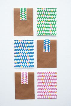 If you don't have washi tape, use patterned paper to decorate kraft gift bags.