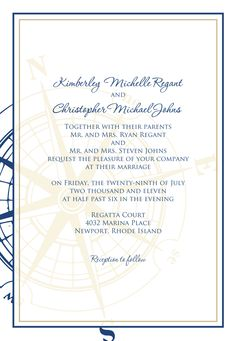 nautical wedding invitations with compass rose | Signatures by Sarah: Custom wedding invitations for Kim