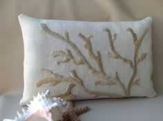 Hand Embroidered Coral Pillow, Golden Cream on Ivory, Hand Made Nautical Decor via Etsy Coral Pillows, Accent Pillows, Coral Design, Burlap Table Runners, Wedding Linens, Nautical Home, Decorative Pillow Covers, Coastal Decor, Hand Embroidery