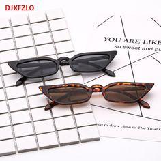 R  7.77  DJXFZLO New cat eye óculos de sol boutique de moda pequena caixa  de óculos de personalidade populares modelos femininos óculos de sol de  design da ... bc904e54e0