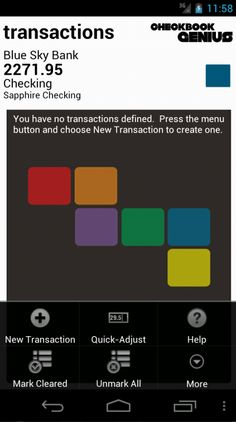 Transactions screen with menu options.