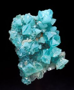 Boracite- a magnesium borate mineral with formula: It occurs as blue green, colorless, gray, yellow to white crystals in the orthorhombic - pyramidal crystal system. Boracite also shows pseudo-isometric cubical and octahedral forms. Cool Rocks, Beautiful Rocks, Minerals And Gemstones, Rocks And Minerals, Mineral Stone, Rocks And Gems, Stones And Crystals, Gem Stones, Natural Stones