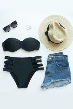 A sunny afternoon wouldn't be the same without the Poolside Pretty Black Bikini! Padded bikini top has detachable strap and matching high-rise bikini bottoms. Summer Wear, Spring Summer Fashion, Summer Outfits, Style Outfits, Cute Outfits, Ropa Interior Boxers, Alternative Rock, Belle Lingerie, Beachwear