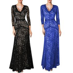 Women Sexy Long Sleeve Lace Evening Party Formal Cocktail Dress Prom Gown Dress #BallGownMaxi #Formal