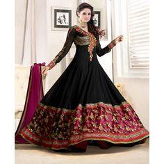 New Designer Floor Length Black Anarkali Suit