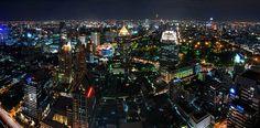 Bangkok thailand skyline aerial.