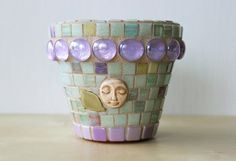Mother Nature  Mini mosaic planter for succulents by HalleyDawn