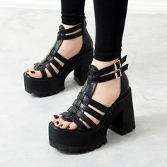 Womens Chunky Heels Platform Strap Buckle Gladiator Punk Shoes Open Toe Sandals in Clothing, Shoes & Accessories, Women's Shoes, Heels Chunky Sandals, Open Toe Sandals, Gladiator Sandals, Chunky Heels, Heeled Sandals, Sandal Heels, Super High Heels, Black High Heels, High Heels Plateau