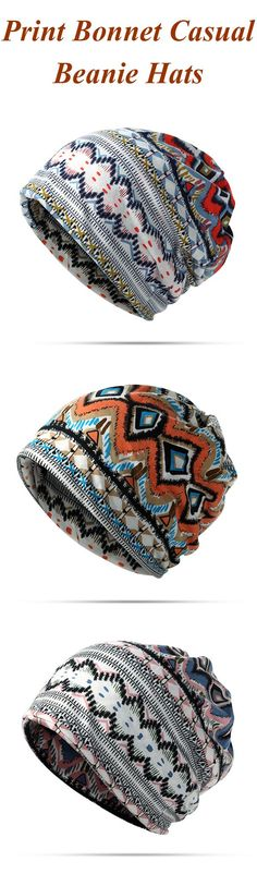 Cotton Print Stripe Bonnet Cap Autumn Casual Beanie Hats Outdoor Sun Cap Scarf Dual Use For Woman