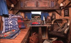 Interior Ralph Lauren's vintage western inspired  airstream. Archive photo from polo.com