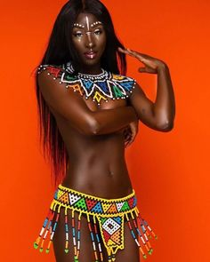 Zulu Two Piece Set – Trufacebygrace Beautiful Dark Skinned Women, Beautiful Black Women, Black Girl Art, Black Girls, African Dress, African Attire, African Tribal Girls, Tribal Women, Zulu Women