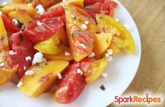 Peach-Tomato Salad with Basil and Feta  Recipe by SP_STEPF via @SparkPeople