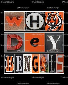 NFL Cincinnati Bengals Framed Alphabet Photo Art by DAMartndesign, $39.00