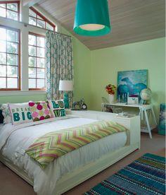 teenage girls room : teal and mint : bedding : window treatments : pendant light fixture