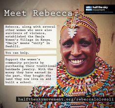 Meet Rebecca. She co-founded the Umoja Women's Village in Kenya along with other survivors of violence. Buy her beautiful handmade beaded jewelry to help support their community projects.