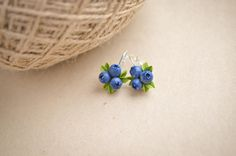 Blueberry earrings Berries earings Clay berry jewelry