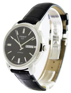 Features: Stainless Steel Case Leather Strap Automatic Movement Caliber: 2836-2 Sapphire Crystal Black Dial Index Dial Type Buckle Clasp Day And Date Display 30M Water Resistance Approximate Case Diameter: 39.7mm Approximate Case Thickness: 9.5mm Mens Watches Online, Watches For Men, Tissot Mens Watch, Stainless Steel Case, Gold Watch, Quartz, Sapphire, Display, Classic